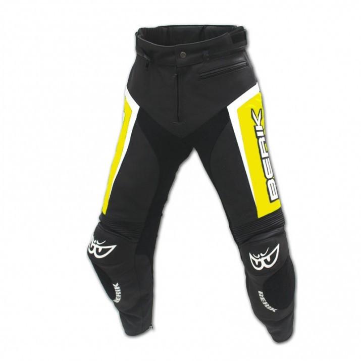 Kožené moto kalhoty Berik LP-10556-BK, žluté