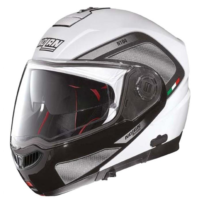 Moto helma Nolan N104 Absolute Tech N-Com Metal White 28