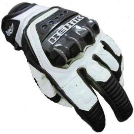 Kožené moto rukavice Berik G-10508-BK, bílé