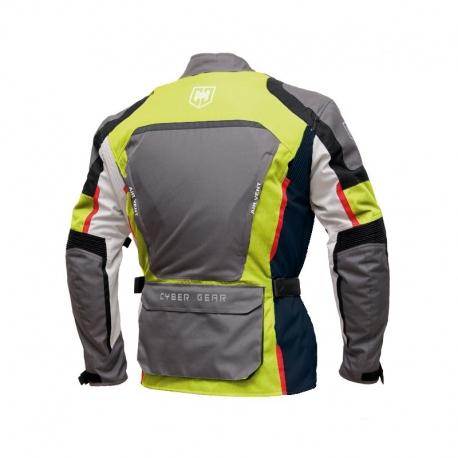 Pánská textilní moto bunda Cyber Gear Tour Long šedá-fluo - S
