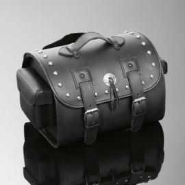 Cestovní brašna Highway Hawk na opěrku motocyklu - zdobený nýty, TEK kůže, černá