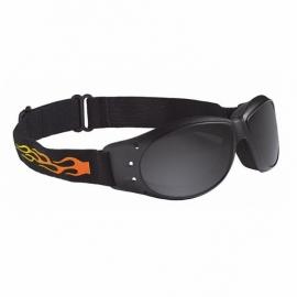 Motocyklové brýle Held s plameny, ztmavené, černý rám