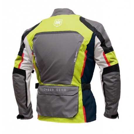 Pánská textilní moto bunda Cyber Gear Tour Long šedá-fluo - L