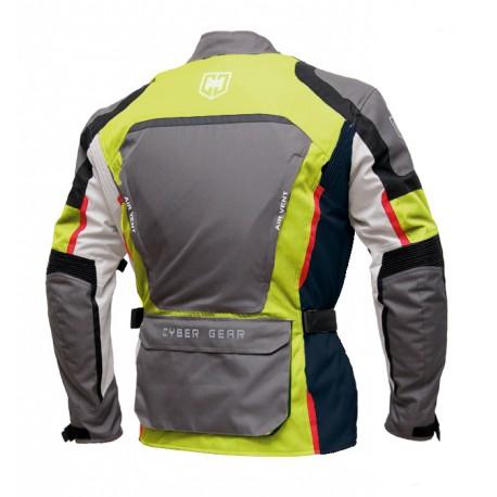 Pánská textilní moto bunda Cyber Gear Tour Long šedá-fluo - 6XL