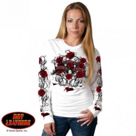 Dámské tričko Hot Leathers Thorns, dlouhý rukáv bílé