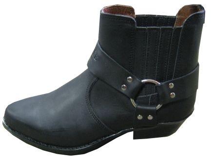 Kožené moto boty TechStar koně nízké, černé