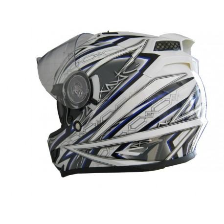 Moto helma Cyber US-100 bílo modrá