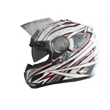 Moto helma Cyber US-100, bílo-červená