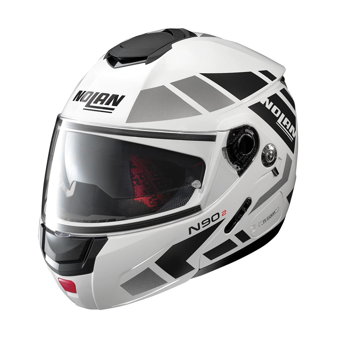 Moto helma Nolan N90-2 Euclid N-Com Metal White 28