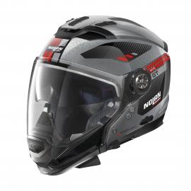Moto helma Nolan N70-2 GT Bellavista N-Com Scratched Chrome 29