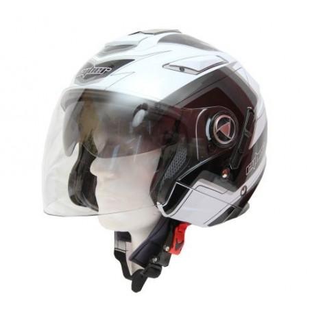 Moto helma Cyber US-101 bílo stříbrná 5v1