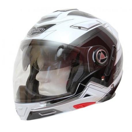 Moto helma Cyber US-101 bílo-stříbrná 5v1