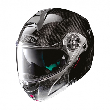 Moto helma X-Lite X-1004 Ultra Carbon Dyad N-Com Carbon Scratched Chrome Chin Gueard 3