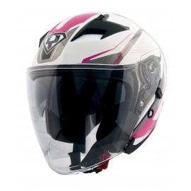 Moto helma Yohe 878-1M Graphic růžová