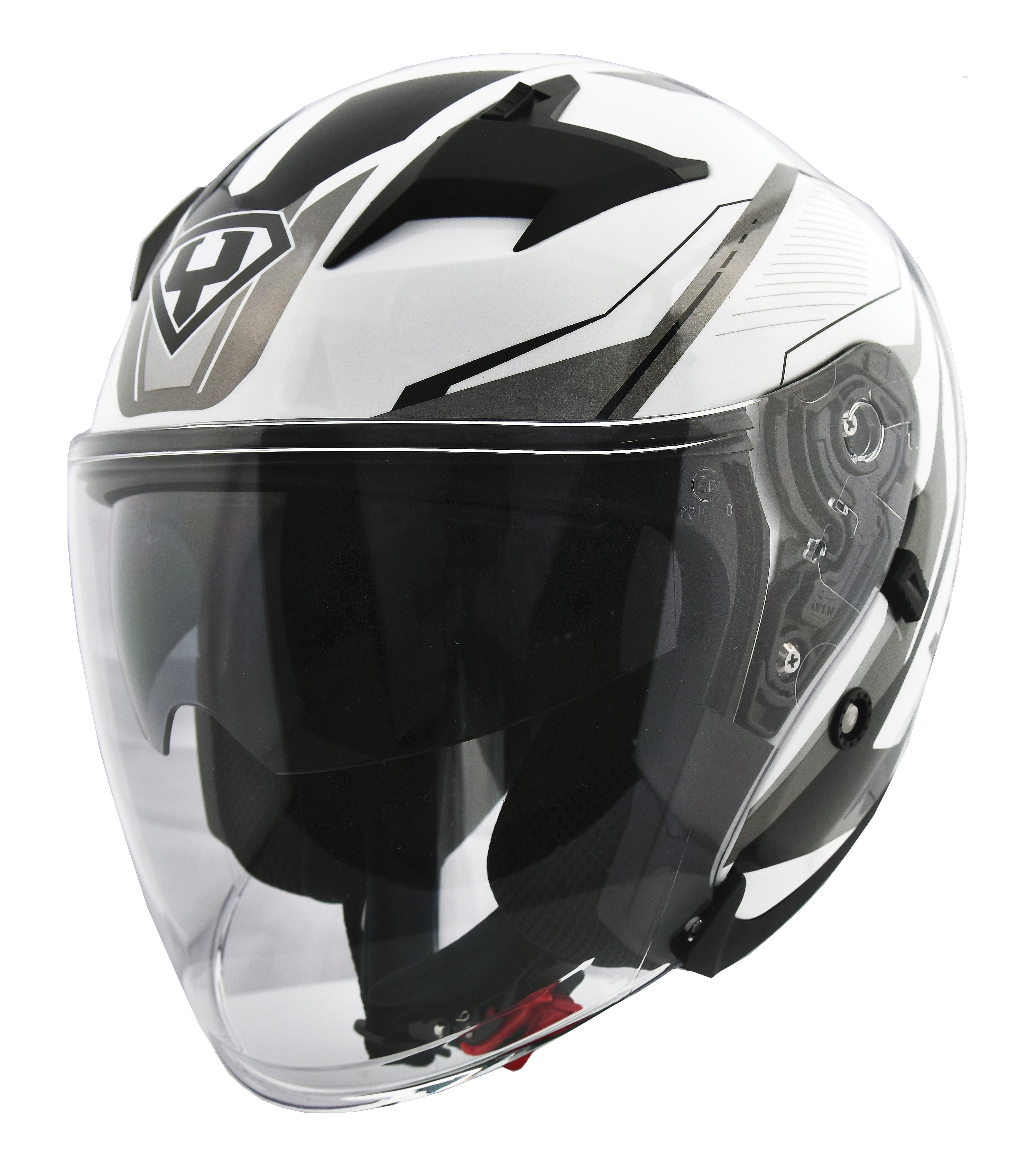 Moto helma Yohe 878-1M Graphic bílá