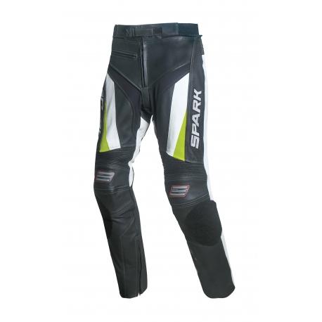Pánské kožené moto kalhoty Spark ProComp, bílé - 2XL