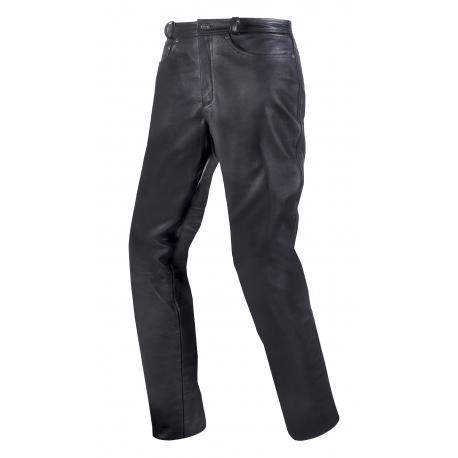 Pánské kožené moto kalhoty SPARK LEATHER JEANS, černé lesklé hladké