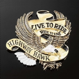 Emblém samolepící: Highway Hawk LIVE TO RIDE zlatý, 40mm
