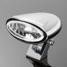 Přídavné světlo motocyklu Highway Hawk MINI OVAL, E-mark, chrom (1ks)