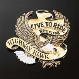 Emblém samolepící: Highway Hawk LIVE TO RIDE, 80mm