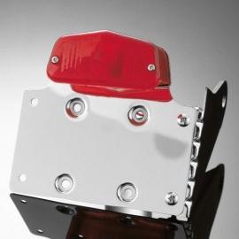 Koncové světlo na motorku s držákem SPZ Highway Hawk LUCAS s boční montáží, chrom (1ks)
