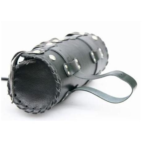 Kožená moto brašna TechStar rolka Spirit zdobená prošitím, černá