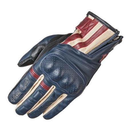 Letní motocyklové rukavice Held PAXTON modrá/béžová/červená, kůže