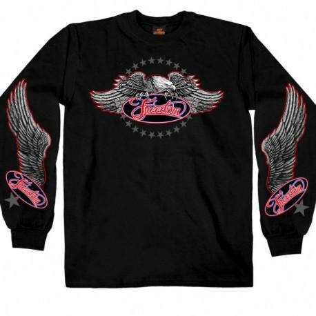 Pánské tričko Hot Leathers Freedom Eagle Long, černé - M