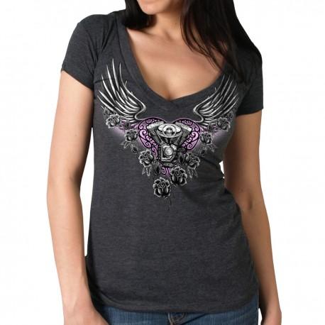 Dámské tričko Hot Leathers Mirror Wings, krátký rukáv - XL