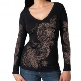 Dámské triko Hot Leathers Lace Pattern dlouhý rukáv, černé