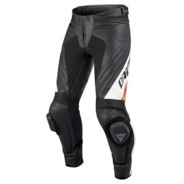Pánské kalhoty na motorku Dainese DELTA PRO EVO C2 PELLE černá/bílá kůže