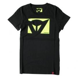 Dámské triko s krátkým rukávem Dainese COLOR NEW LADY černá/fluo žlutá