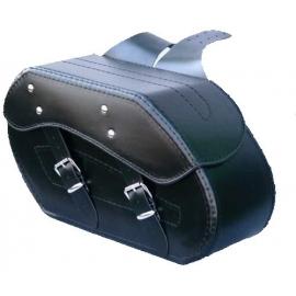 Kožené moto brašny TechStar Chopper bez zdobení černé