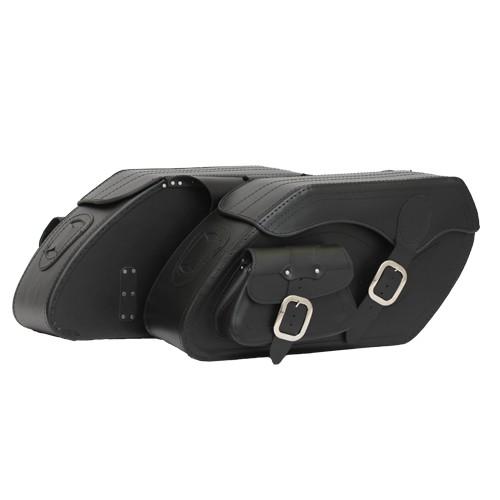 Kožené moto brašny TechStar Chopper s kapsou hladké, černé