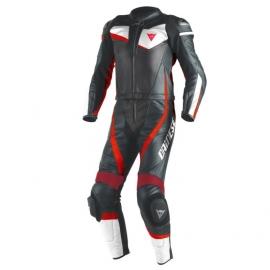 Dainese VELOSTER div. černá/bílá/fluo-červená, kůže - dvoudílná kombinéza na motorku