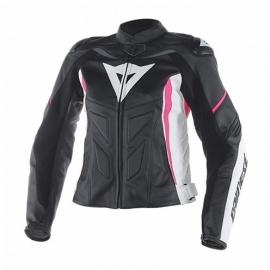 Dainese AVRO D1 LADY dámská bunda na motorku, černá/bílá/růžová, kůže
