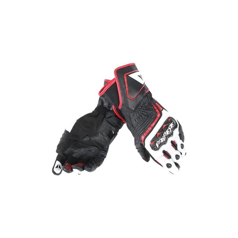 692dfbc73b9 Pánské sport moto rukavice Dainese CARBON D1 LONG černá bílá červená (láva)