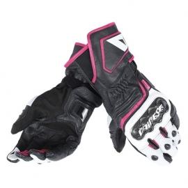 Dámské sport moto rukavice Dainese CARBON D1 LONG LADY černá/bílá/růžová, kůže (pár)