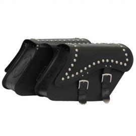 Kožené moto brašny TechStar Kosso zdobené cvoky, černé