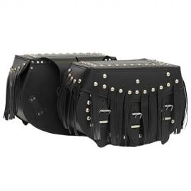Kožené moto brašny TechStar Retro zdobené třásněmi, černé