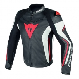 Dainese pánská kožená sportovní moto bunda ASSEN černá/bílá/fluo červená
