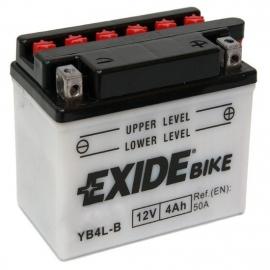 Baterie EXIDE 12V 4Ah, EB4L-B, za sucha nabitá s antisulfační úpravou. Náplň součástí balení.