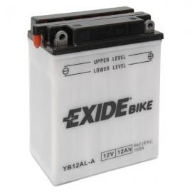 Baterie EXIDE EB12AL-A, 12V 12Ah, za sucha nabitá s antisulfační úpravou. Náplň součástí balení.