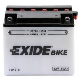 Baterie EXIDE EB16-B, 12V 19Ah, za sucha nabitá s antisulfační úpravou. Náplň součástí balení.
