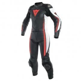 Dainese ASSEN div. LADY černá/bílá/fluo-červená - dámská dvoudílná kombinéza na motorku