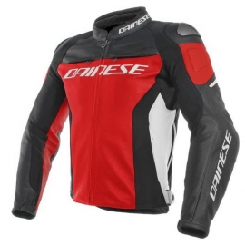 Dainese pánská kožená bunda na motorku RACING 3 červená/černá/bílá