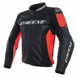 Dainese pánská kožená bunda na motorku RACING 3 černá/červená-fluo