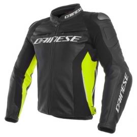 Dainese pánská kožená bunda na motorku RACING 3 černá/žlutá-fluo