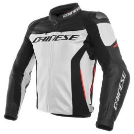 Dainese pánská kožená bunda na motorku RACING 3 bílá/černá/červená