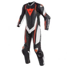 Jednodílná moto kombinéza Dainese KYALAMI černá/bílá/fluo červená, klokaní kůže